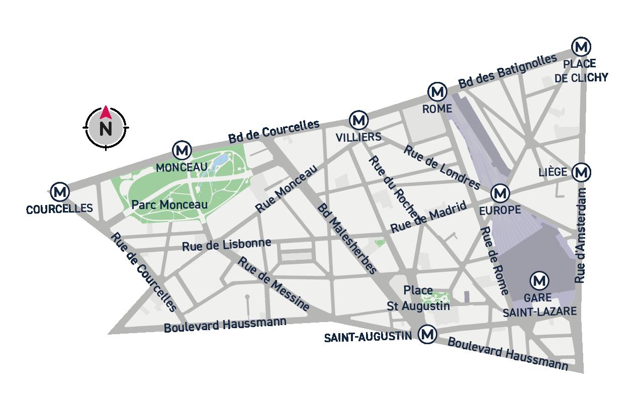 Plan de quartier Embellir Paris - Monceau / Saint-Augustin / Europe
