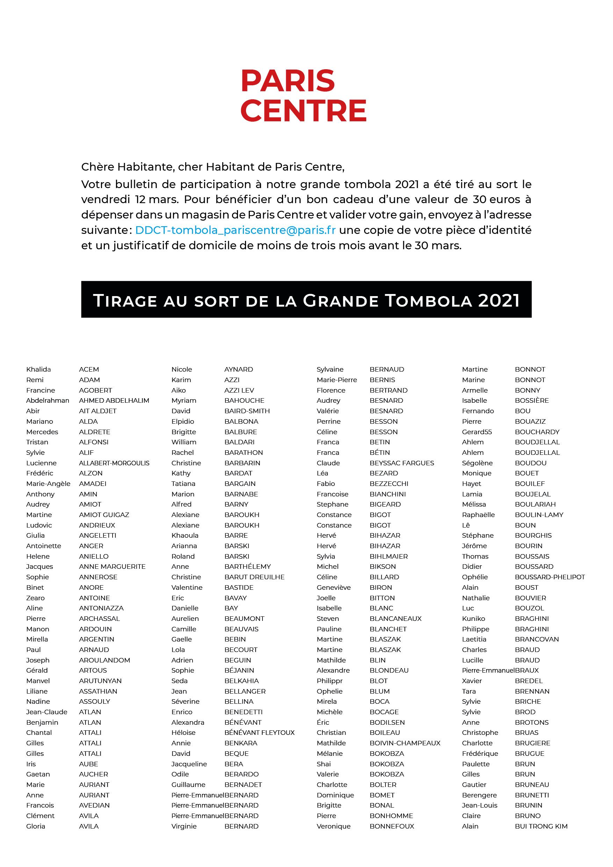 Liste (1/3) des tirés au sort - Grande Tombola