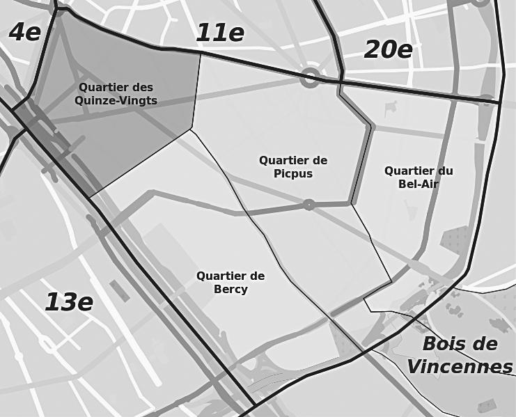 Les quatre quartiers administratifs du 12ème arrondissement : Quinze-Vingts, Bercy, Picpus et Bel-Air.