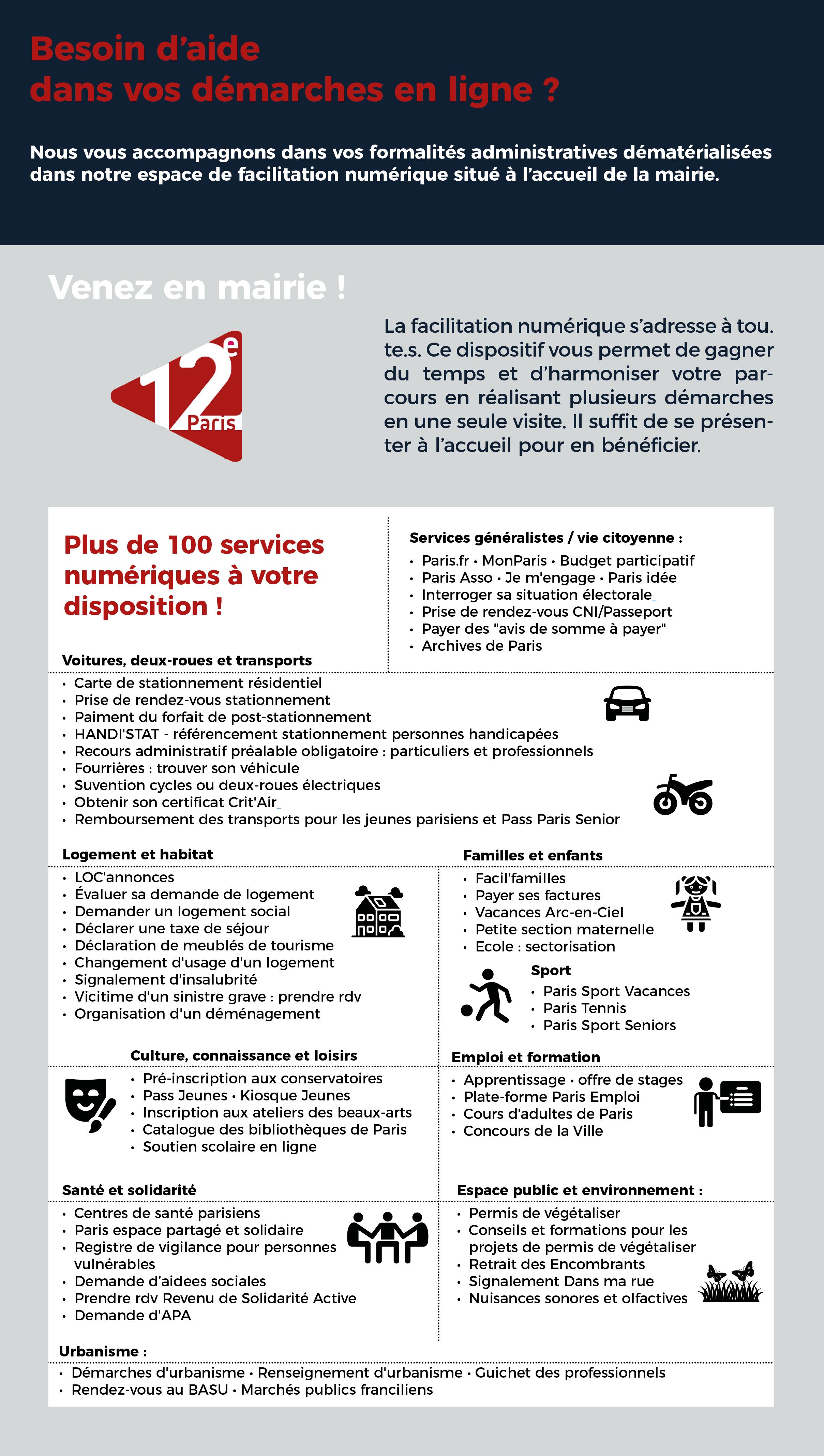 Description des téléservices pouvant faire l'objet d'un accompagnement au service accueil de la mairie du 12ème arrondissement.