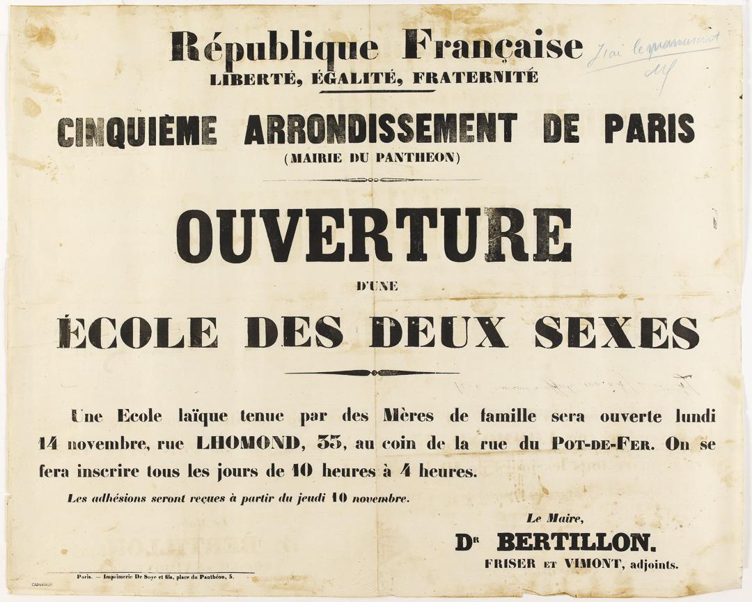 Ouverture d'une école des deux sexes.1870.