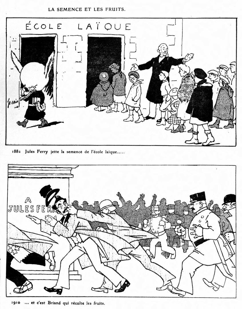 """Caricatures sur Jules Ferry, Briand et l'Ècole laïque. """"La Semence et les fruits"""" parues dans l'Assiette au beurre."""