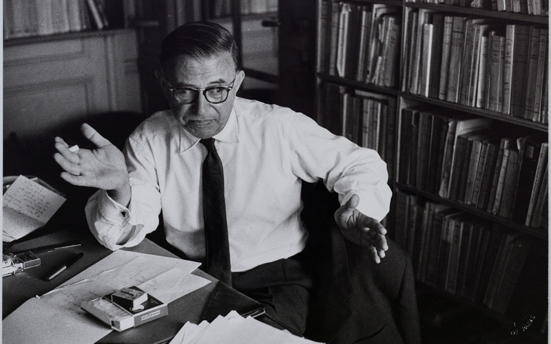 Jean-Paul Sartre (1905-1980), philosophe et écrivain français. 1959. Photographie de Jean Marquis (1926-2019).