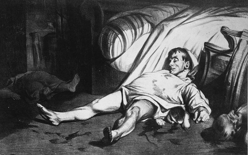 """Honoré Daumier (1808-1879). """"Massacre de la rue Transnonain"""" (témoignage d'un massacre lié à un mouvement populaire à Paris, le 13 avril 1834). Lithographie."""