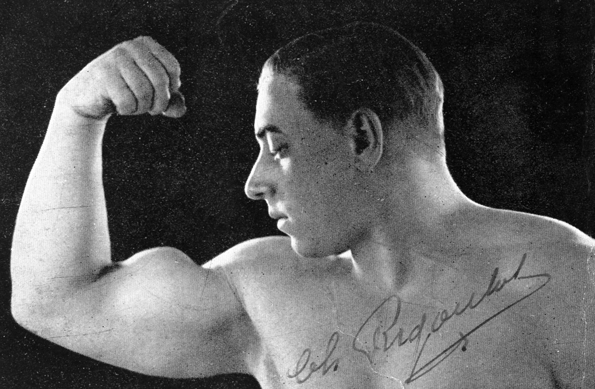 """Charles Rigoulot (1903-1962), haltérophile français. """"l'Homme le plus fort du Monde"""". Photographie avec autographe."""