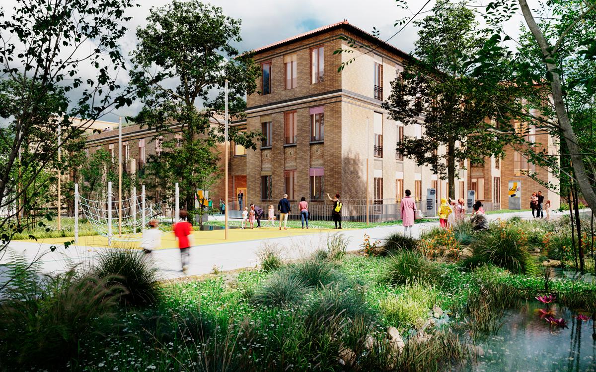 Perspective du bâtiment Pinard,futur équipement public du quartier Saint-Vincent-de-Paul.