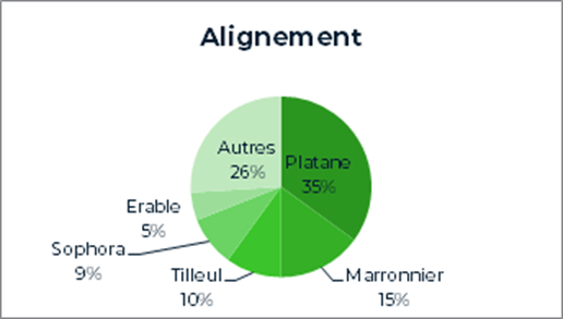 35% de platanes, 15% de marronniers, 10% de tilleuls, 9% de Sophora, 5% d'érables et 26% d'autres essences