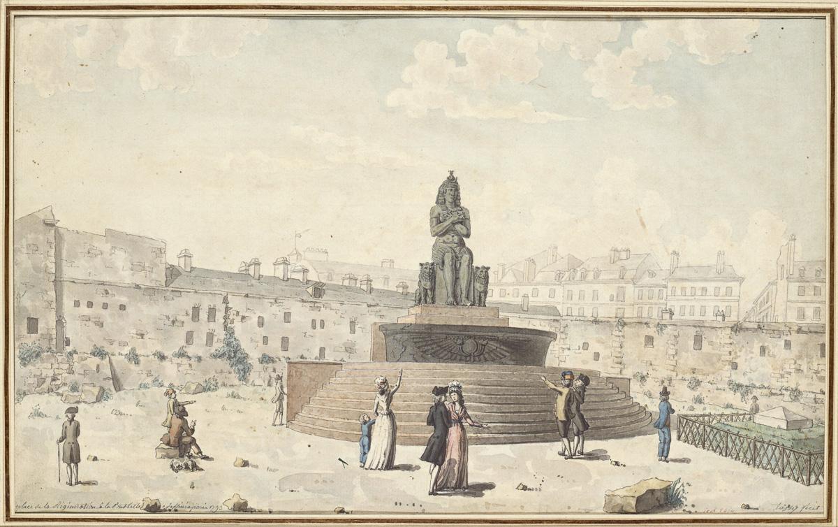 Fontaine de la Régénération sur l'emplacement de la Bastille, en 1793.