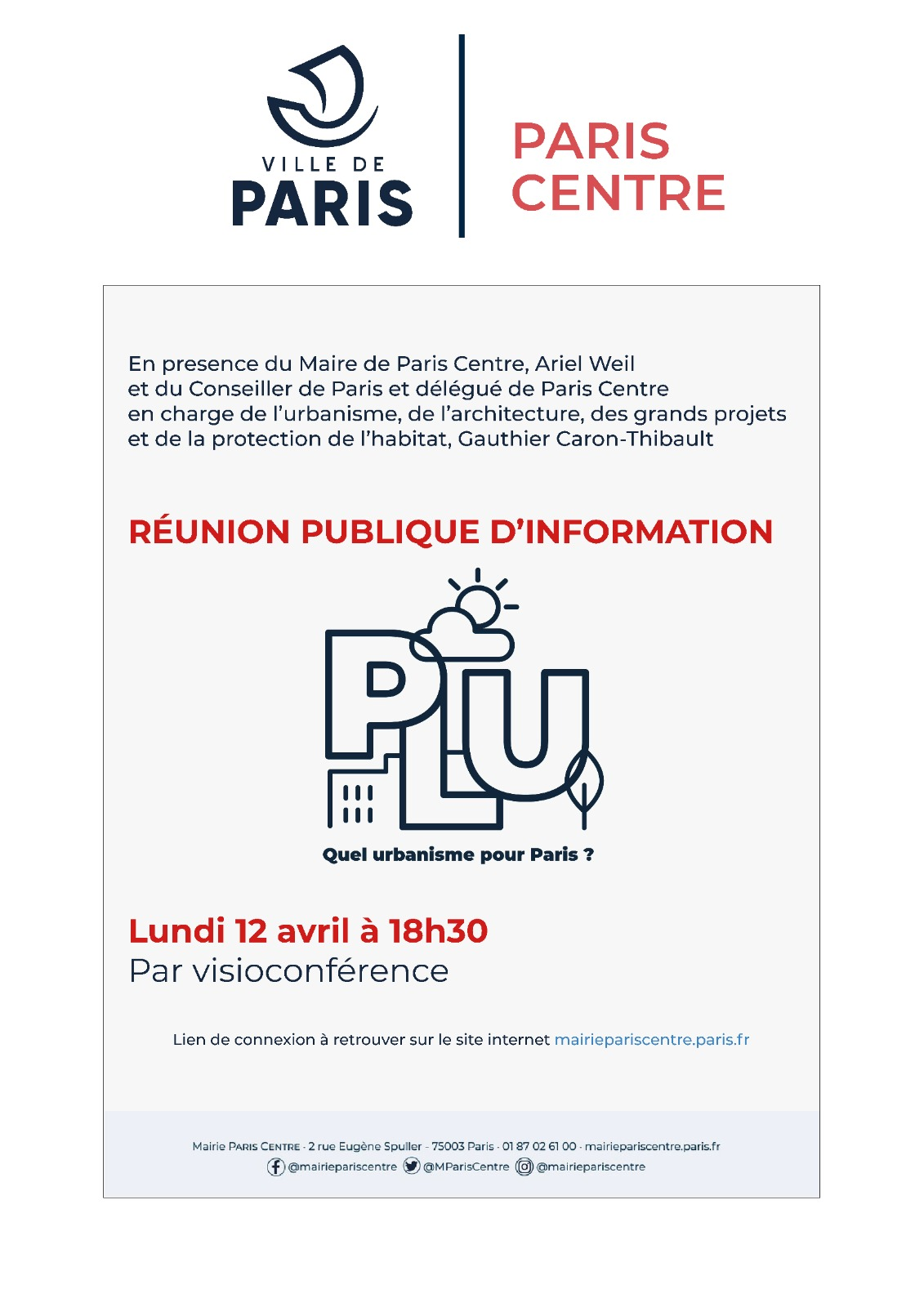 Affiche - Réunion de concertation sur la révision du PLU (Paris Centre)