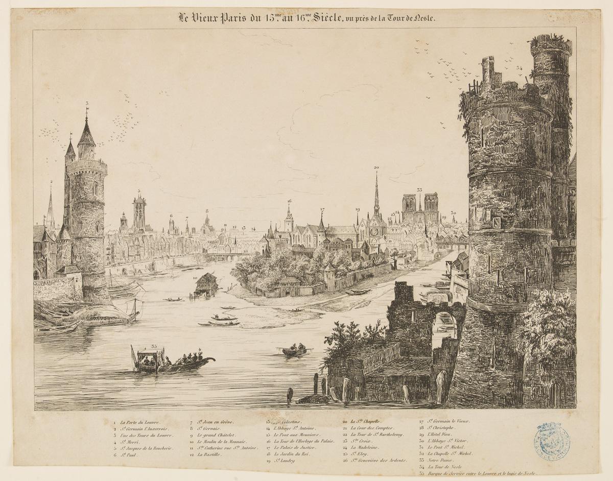 Le vieux Paris du 15me au 16me Siècle, vu près de la Tour de Nesle vers 1835.