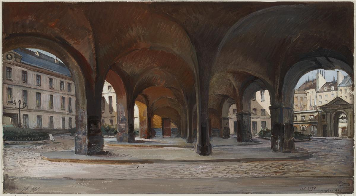 Arcades de l'hôpital de la Charité en 1904.