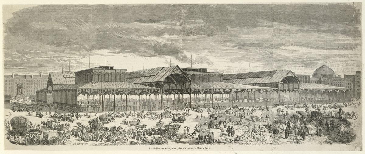 Les Halles centrales, vue prise de la rue de Rambuteau.