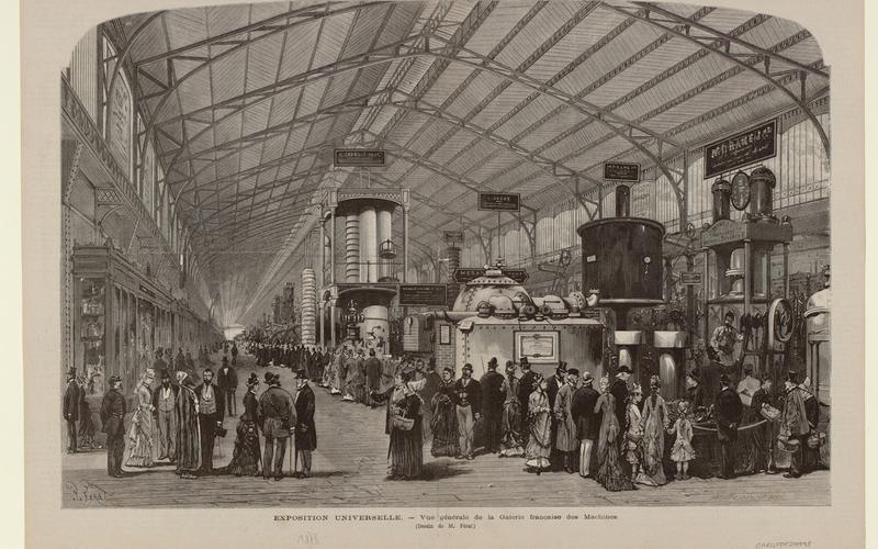 Exposition universelle. - Vue générale de la galerie françaises des Machines.1878.