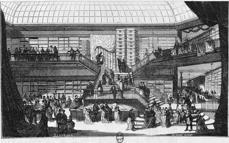 Les nouveaux magasins du Printemps en 1874. L'escalier principal. Paris, B.N.F.