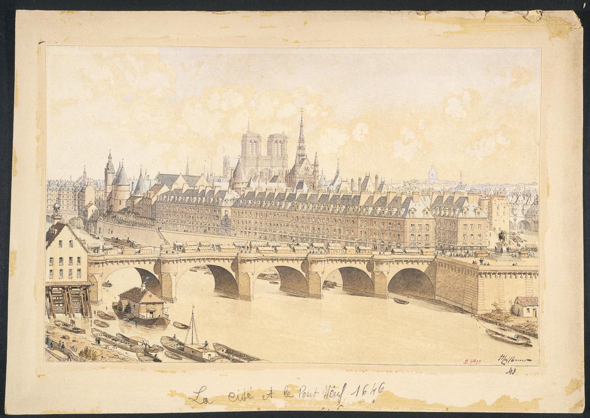 La Cité et le Pont Neuf en 1665. (Composition rétrospective)