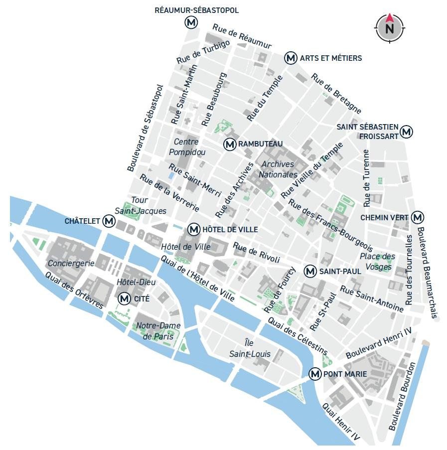 Plan du quartier Marais - Les Îles