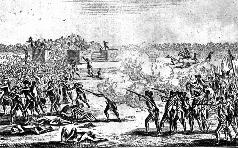 Révolution française. Massacre de Parisiens sur l'Autel de la patrie, au Champ de la Fédération, où ils déposaient une pétition réclamant la destitution du roi. 17 juillet 1791. Gravure.