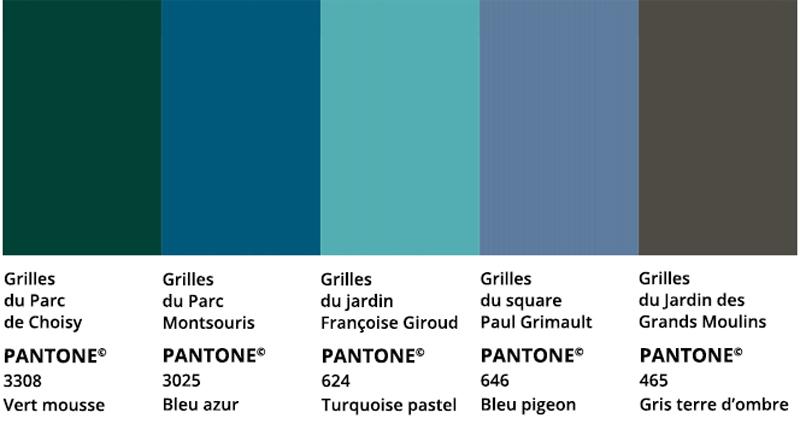 Nuancier des  possibles nouvelles couleurs des grilles du Parc de Choisy