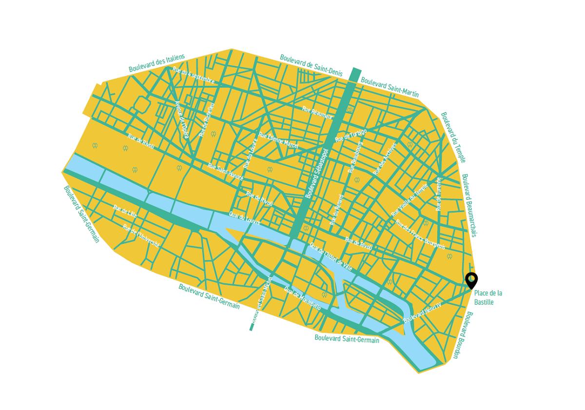 Plan de la zone apaisée Paris Respire : Paris Centre et Saint-Germain