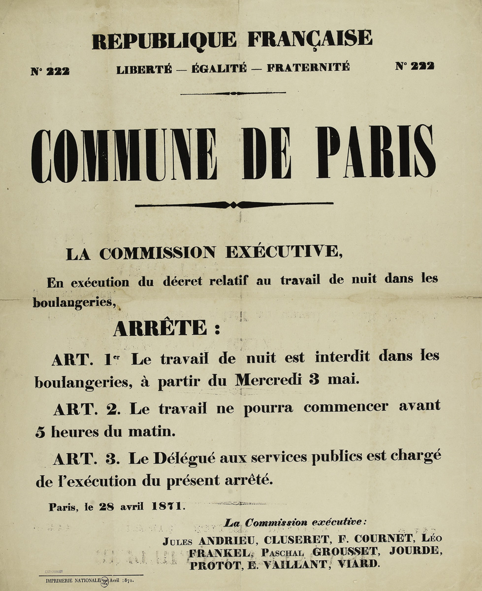 La Commission exécutive, en exécution du décret relatif au travail de nuit dans les boulangeries.