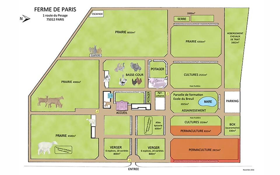 Plan présentant les différents espaces de la Ferme de Paris
