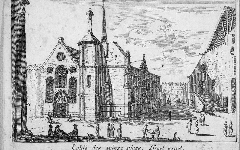 """Israël Silvestre (1621-1691), Israël Henriet (1590-1661). """"Eglise des Quinze-Vingts"""". Eau-forte, 1650-1660. Paris, musée Carnavalet."""