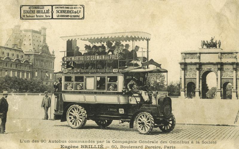 L'un des 90 autobus commandés par la compagnie générale des omnibus à la société Eugène Brillé, 60 bd Pereire.