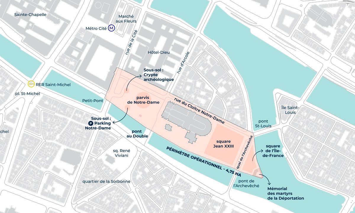 Plan des abords de Notre Dame de Paris.