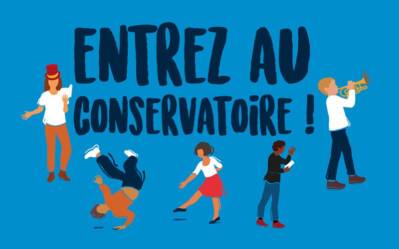 """5 personnes pratiquent la danse, la musique ou le théâtre autour de la phrase """"Entrez au conservatoire !"""""""