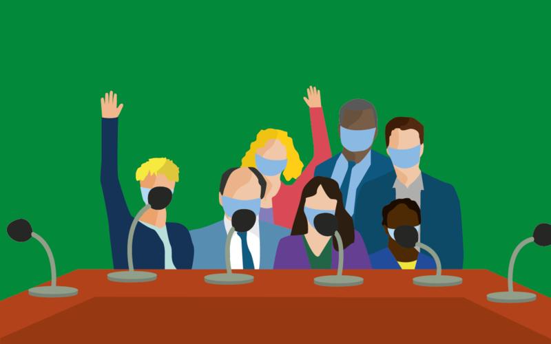 Dessin d'élu·es se tenant en conseil d'arrondissement autour d'une grande table