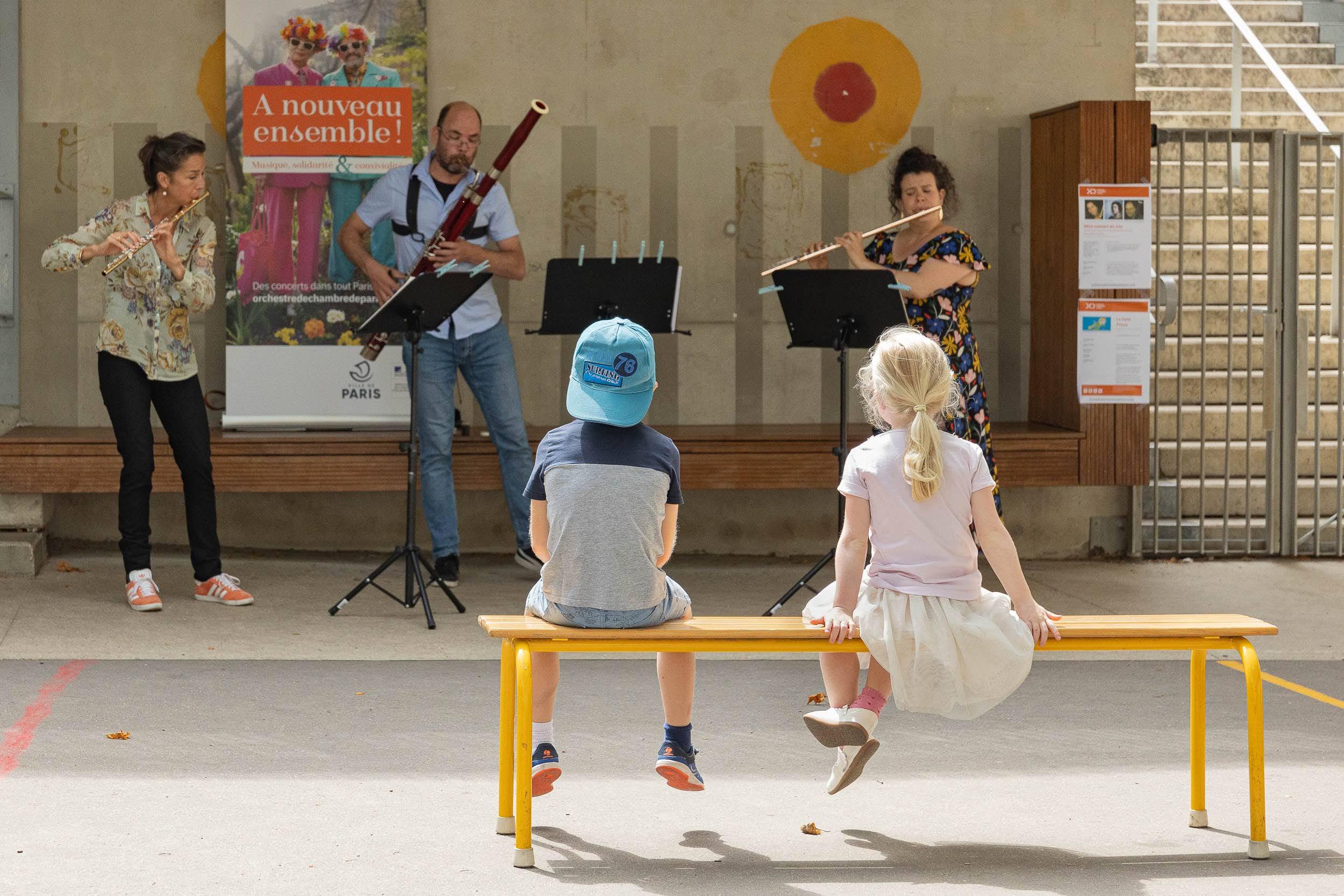 Ouverture des cours d'écoles le samedi : Orchestre de Chambre de Paris dans la cour d'école Servan (11e)