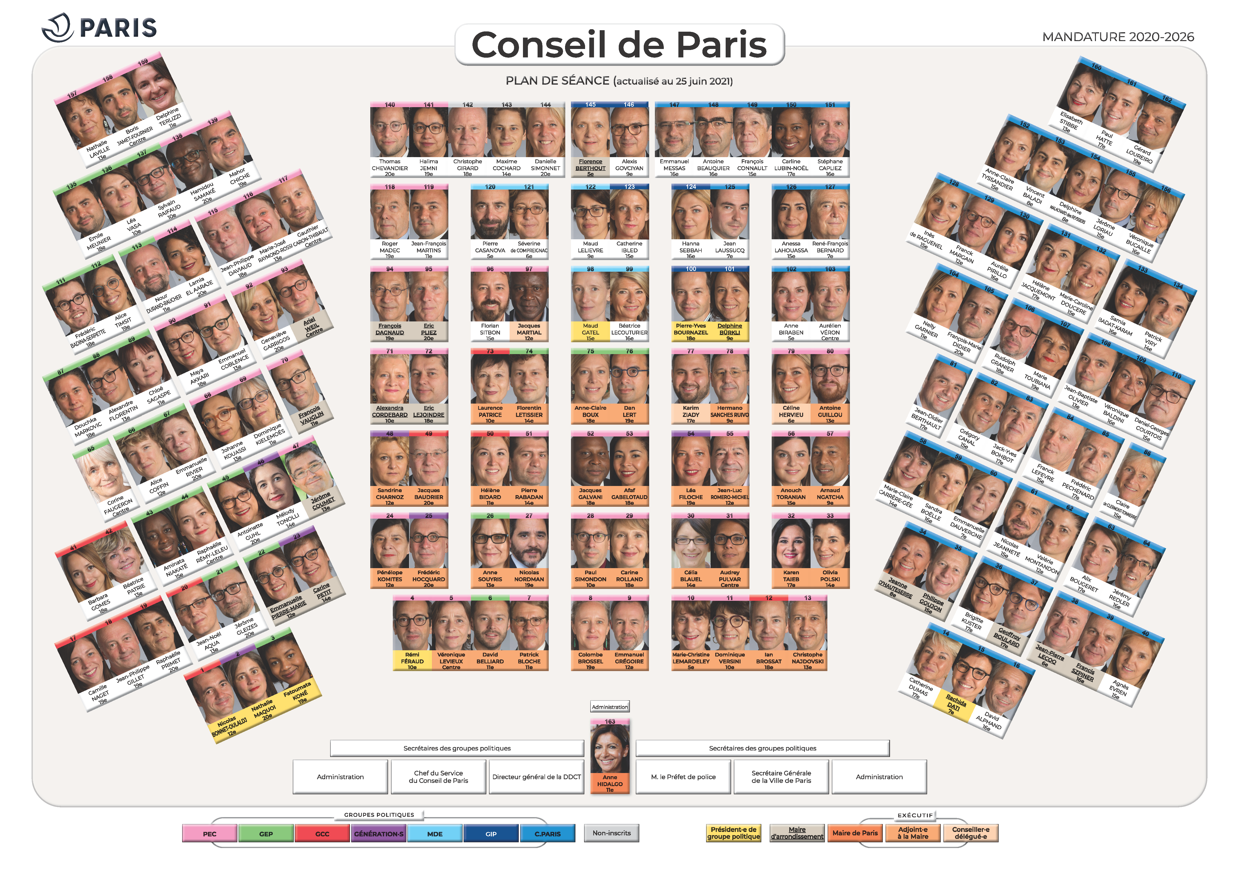 Plan de l'hémicycle - Conseil de Paris (25 juin 2021)