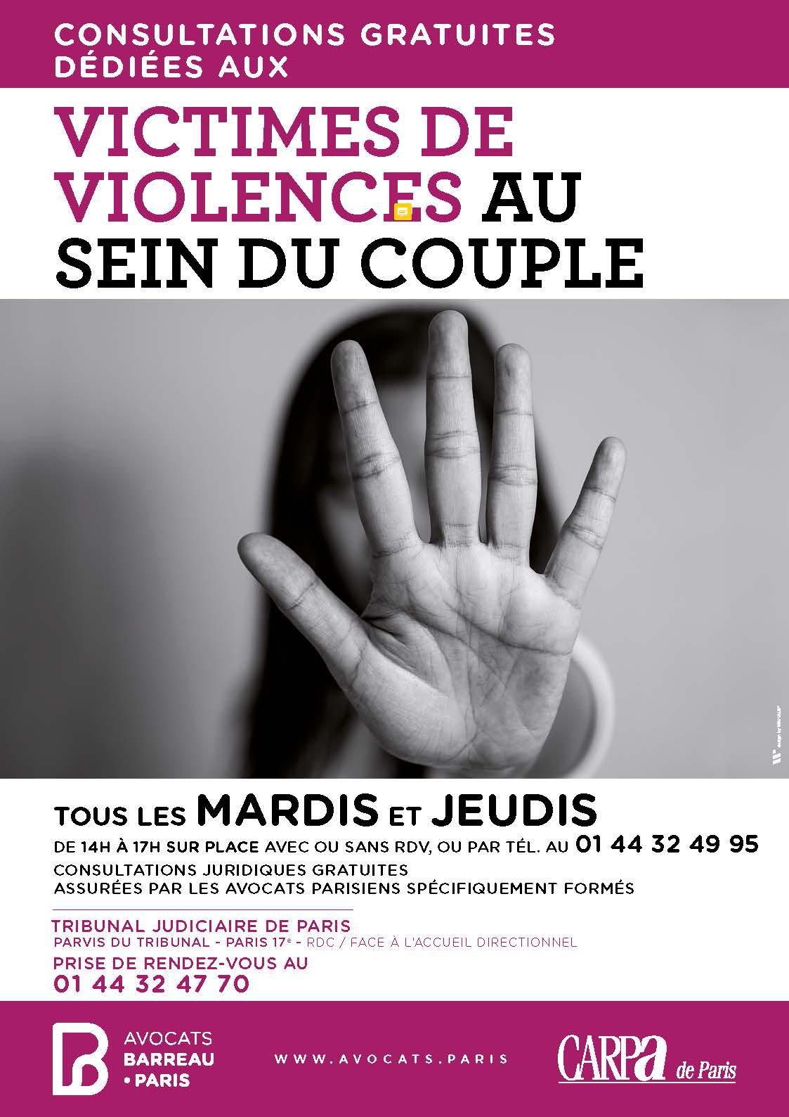 Consultations gratuites dédiées aux victimes de violences au sein du couple tous les mardis et jeudis de 14h à 17h avec ou sans rdv ou par téléphone au 01 44 32 49 95 au Tribunal judiciaire de Paris situé dans le 17e arrondissement de Paris métro Porte de Clichy