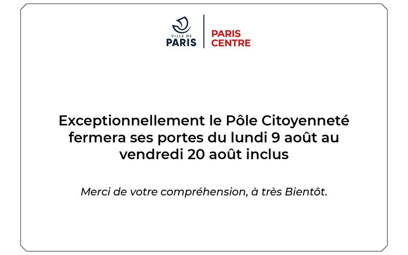 Fermeture Pôle citoyens / été 2021