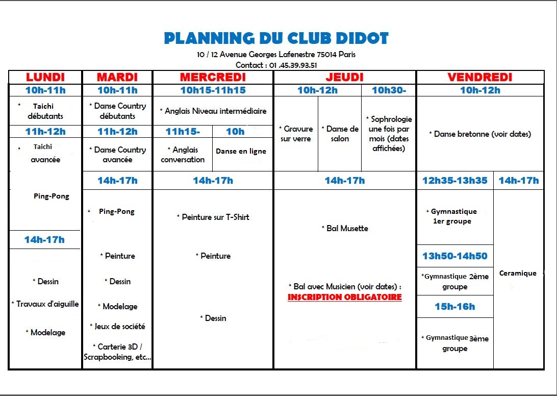 Le planning d'activités du Club Didot