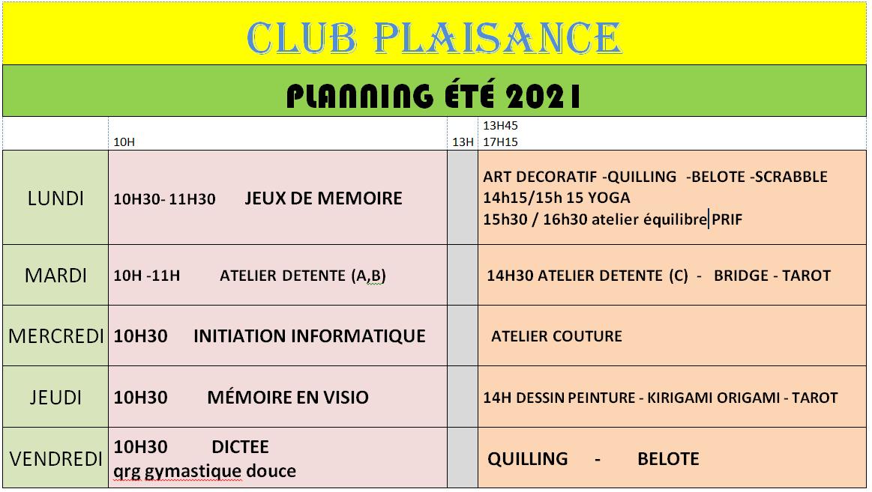 Le planning estival du Club Plaisance