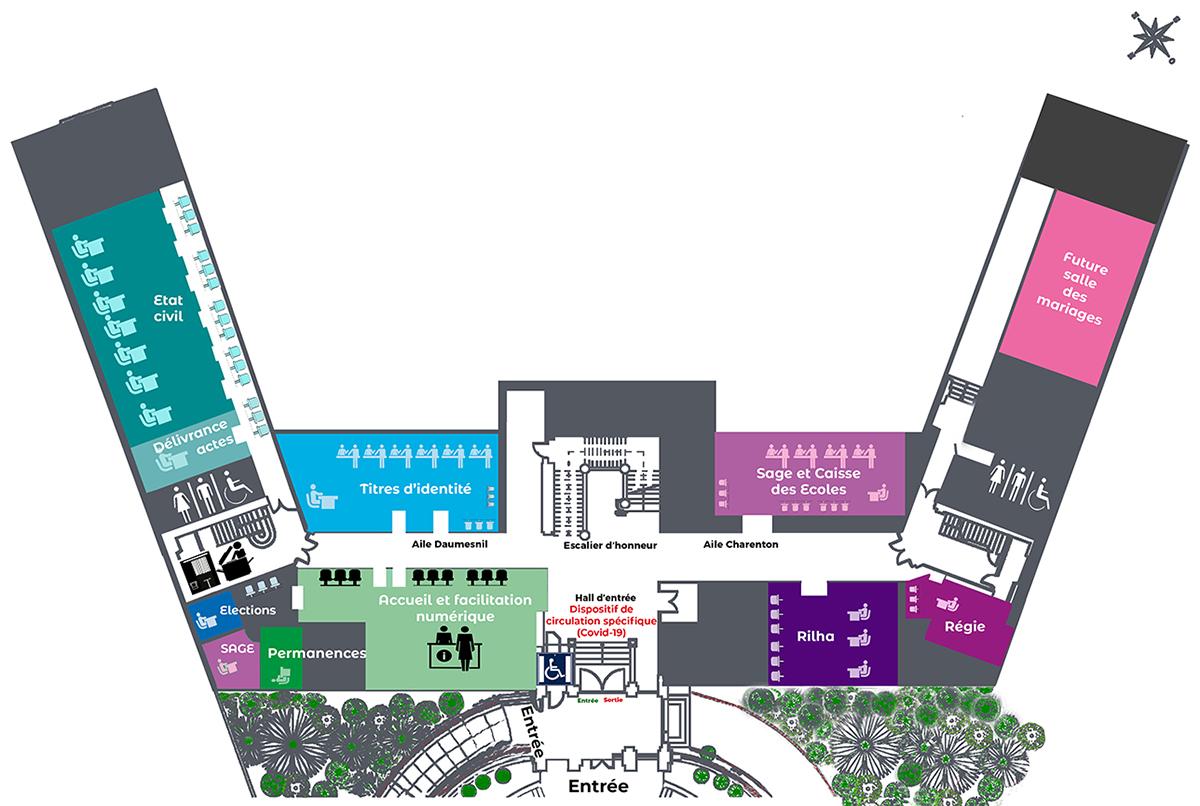 Plan des services à la population tous situés au rez-de-chaussée de la mairie