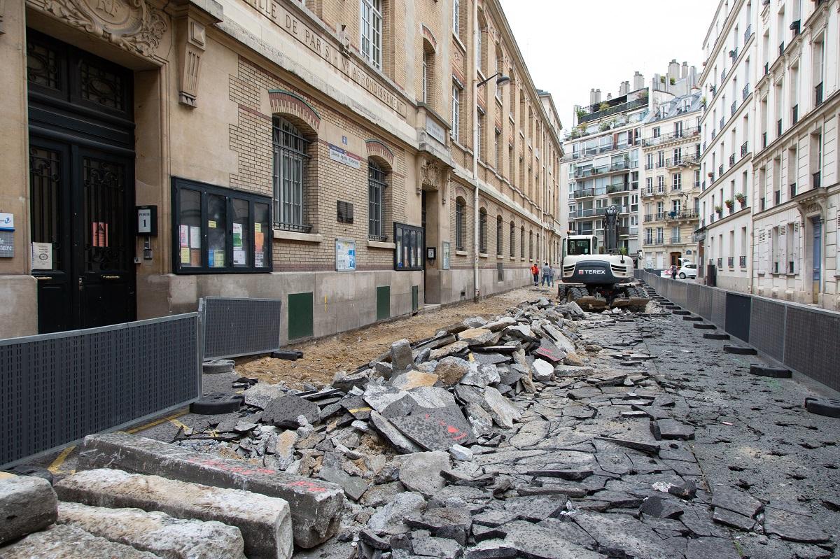 Photo d'un chantier sur la rue de l'Arbalète