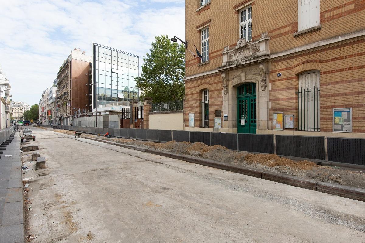 Photo d'un chantier de réaménagement de la rue de Reuilly
