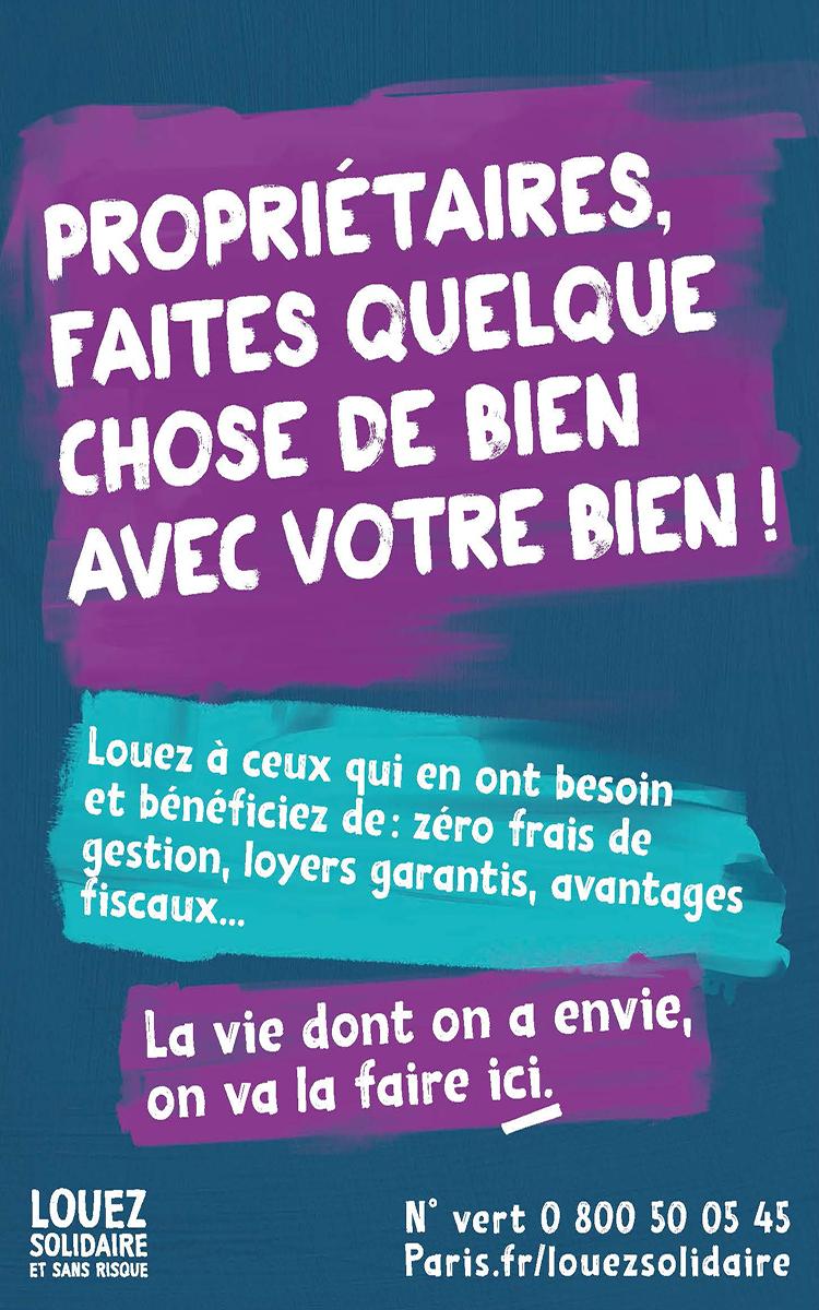Campagne d'affichage Louez Solidaire et sans Risque - 2021