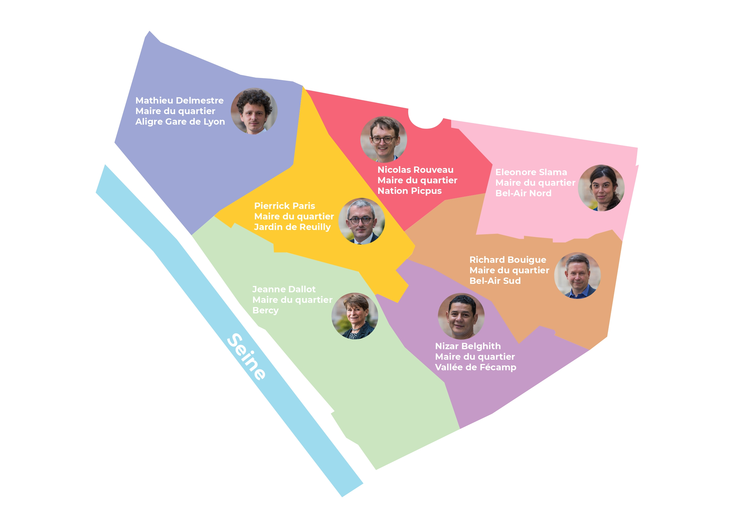 Carte du 12e arrondissement indiquant pour chaque quartier son maire de quartier.