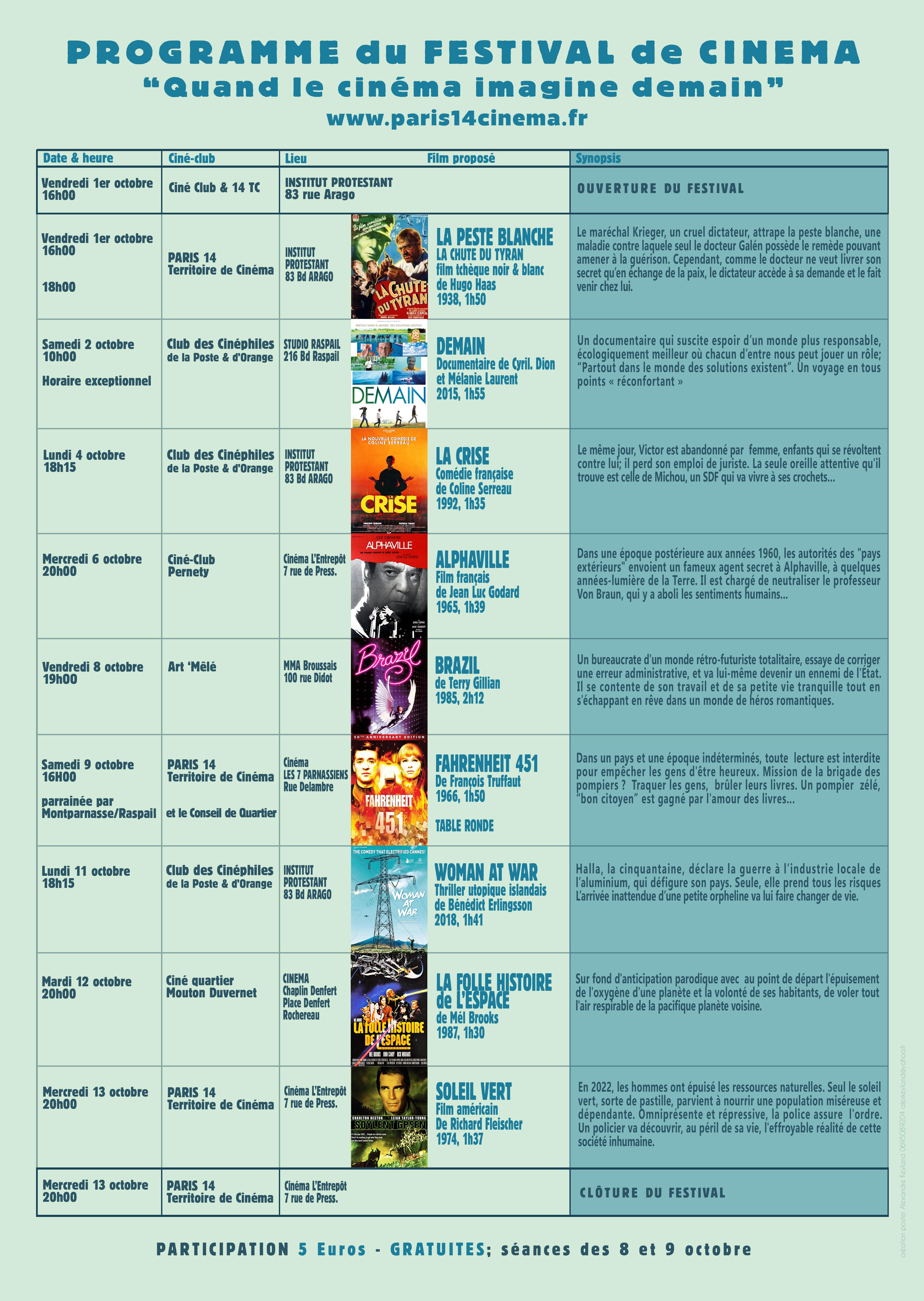 Programme du festival Quand le cinéma imagine demain