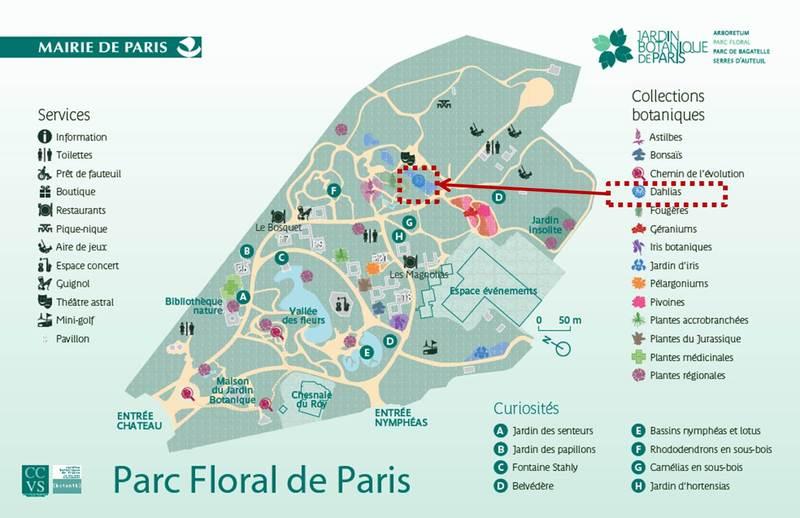Plan interne du parc floral de Paris