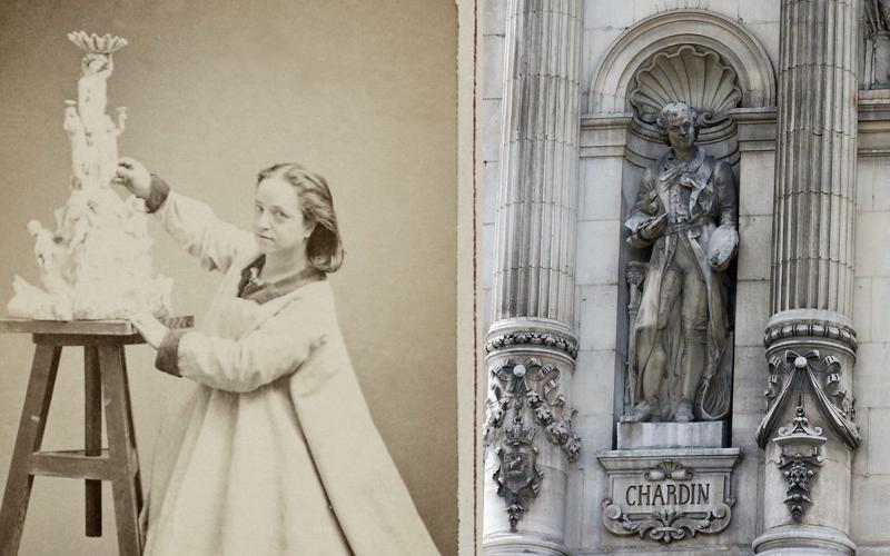 Hélène Bertaux et sa statue de Jean Siméon Chardin