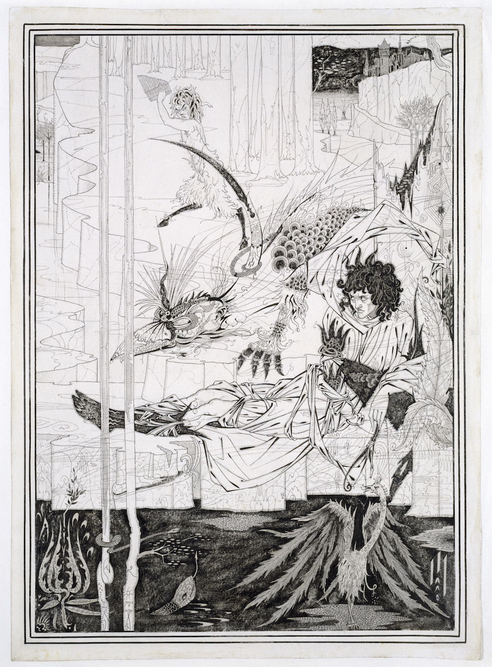 Aubrey Beardsley (1872-1898) How King Arthur Saw the Questing Beast, and thereof had Great Marvel 1893 ink and wash on paper 37, 8 com x 27 cm