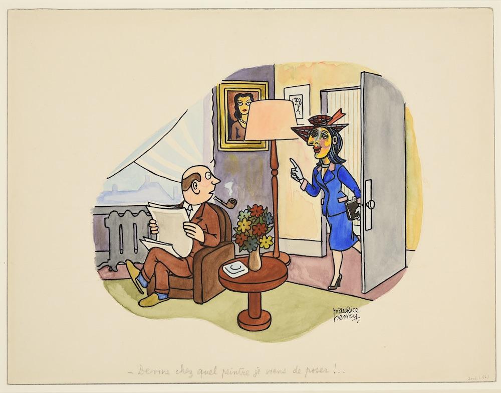 Maurice Henry «Devine chez quel peintre je viens de poser» (Dessin au recto par Maurice Henry et au verso par Pablo Picasso) Sans date
