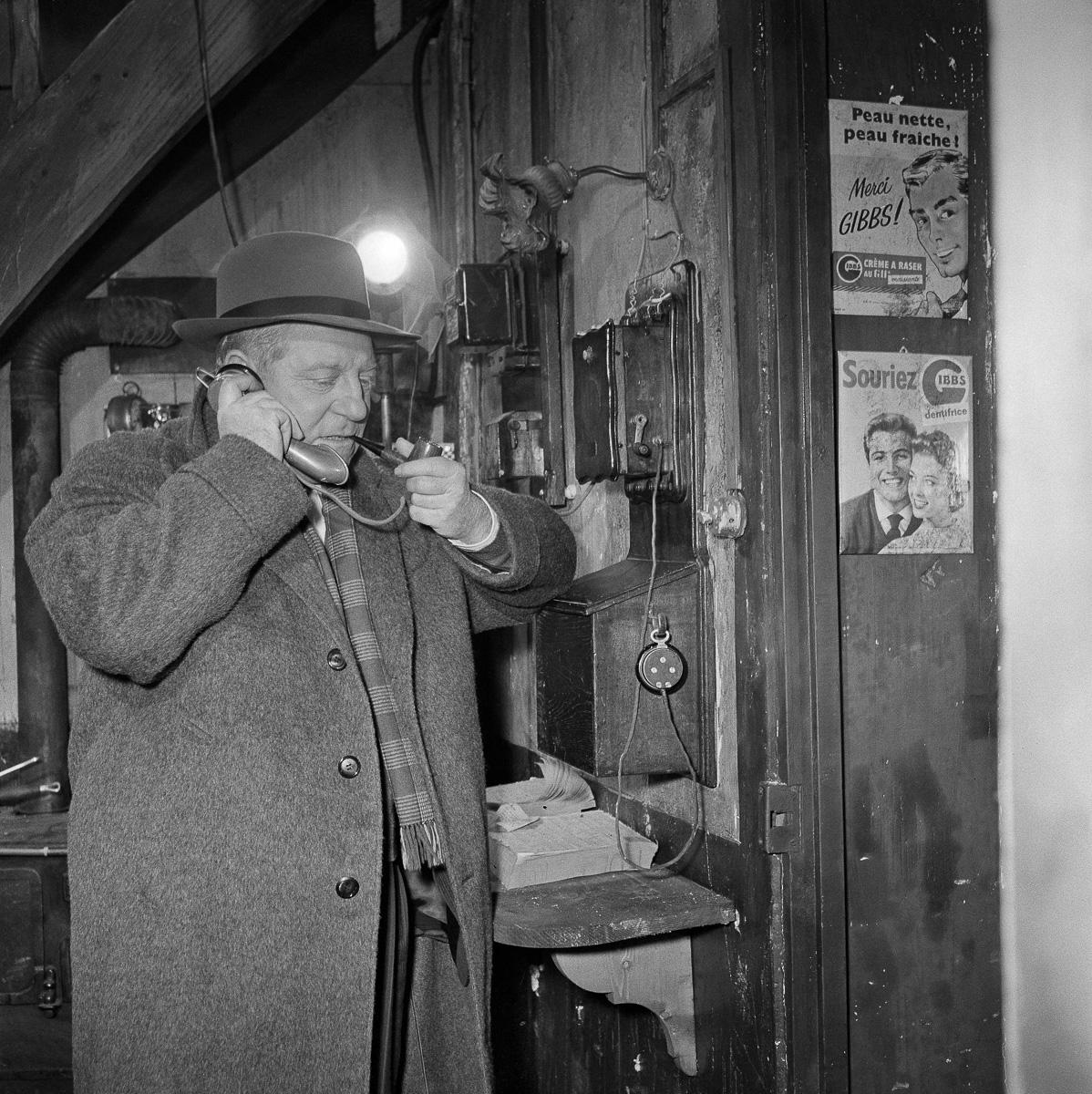 """""""Maigret et l'Affaire Saint-Fiacre"""", film de Jean Delannoy, d'après le roman de Georges Simenon. Jean Gabin."""
