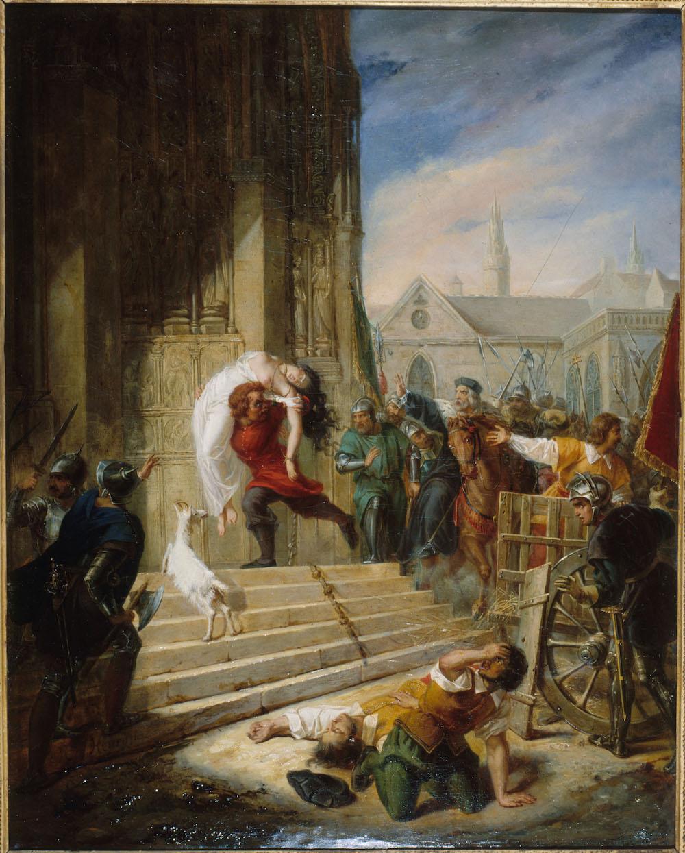 Eugénie Henry épouse Latil (1808-1879), Quasimodo sauvant la Esmeralda des mains de ses bourreaux, 1832 Huile sur toile