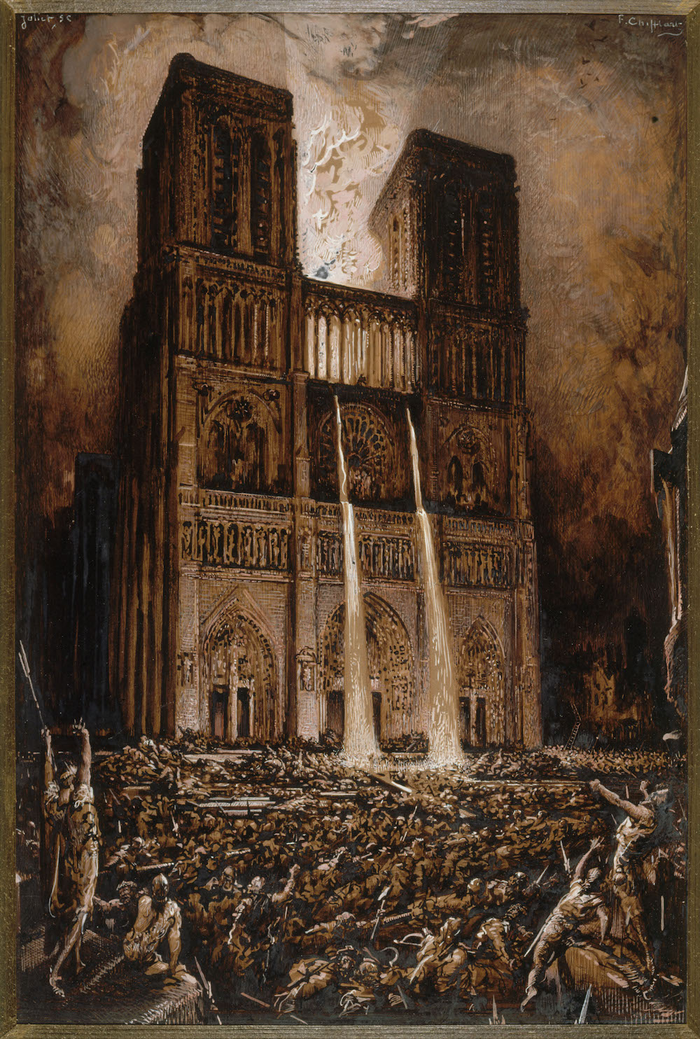 Francois-Nicolas Chifflart (1825-1901), Attaque de Notre-Dame, vers 1876-1877 Encre et gouache sur papier