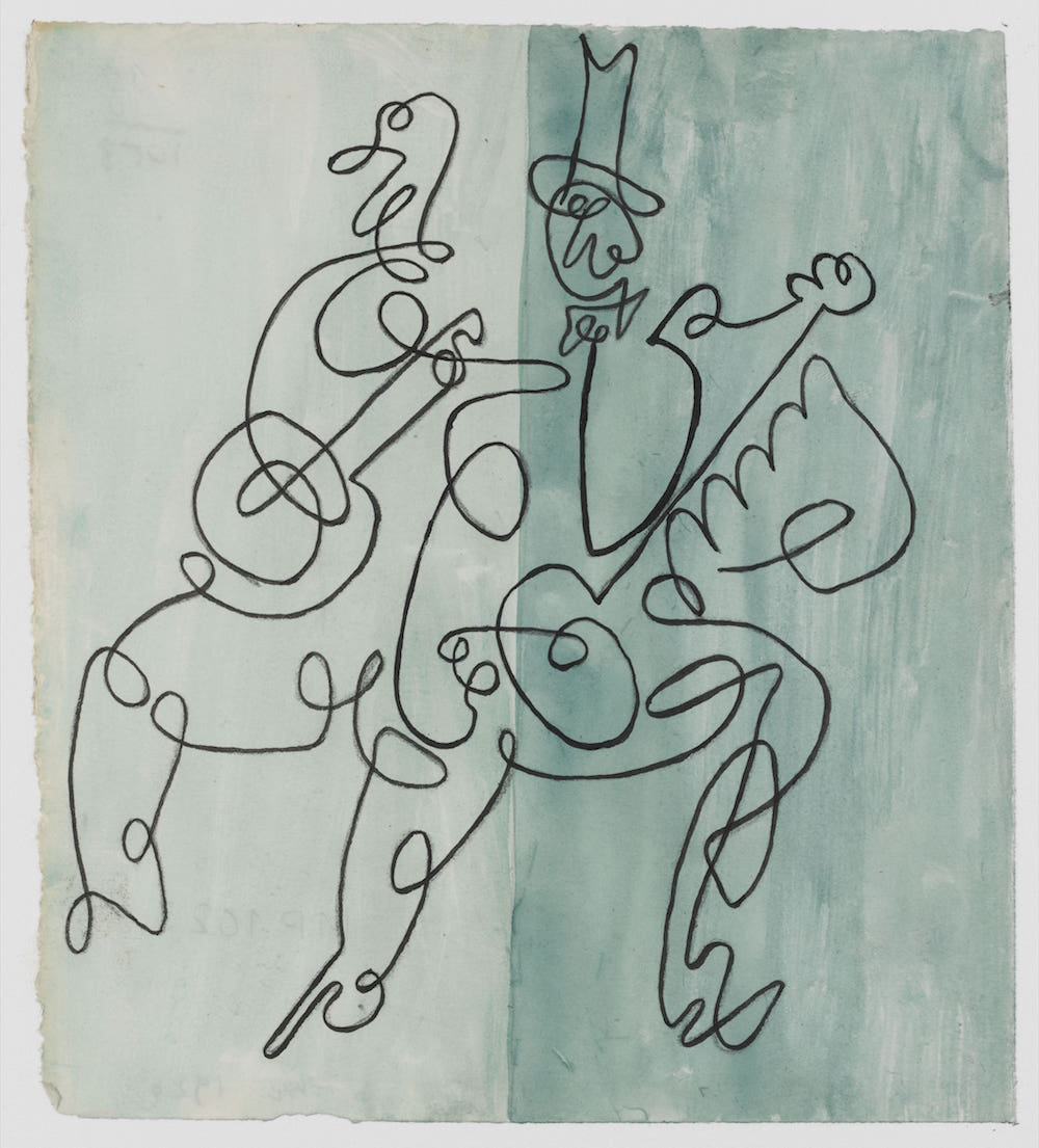 """Projet pour la couverture de la partition de """"Ragtime"""" d'Igor Stravinski : violoniste et joueur de banjo"""